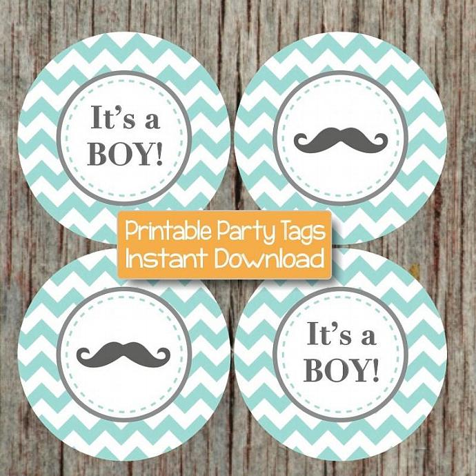 Little Man Party Cupcake Toppers Baby Shower Its a Boy Mustache Stickers Labels