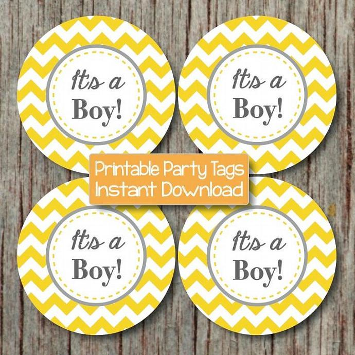 It's a Boy Baby Shower Cupcake Toppers Printable Stickers Yellow Grey Chevron