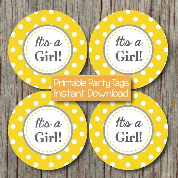 It's a Girl! Printable Tag Baby Shower Cupcake Toppers Favor Tags Party Labels