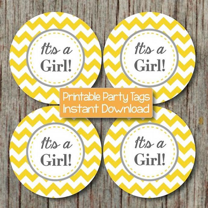 It's a Girl Printable Baby Shower Cupcake Toppers Yellow Grey Chevron Stickers
