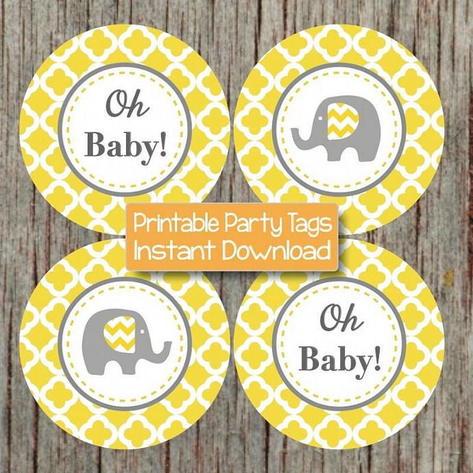 Elephant Yellow Grey Quatrefoil Cupcake Toppers Baby Shower Decorations