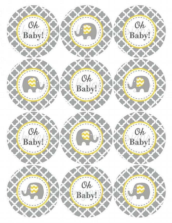 Elephant Baby Shower Tags Printable Cupcake Toppers Oh Baby! Yellow Grey