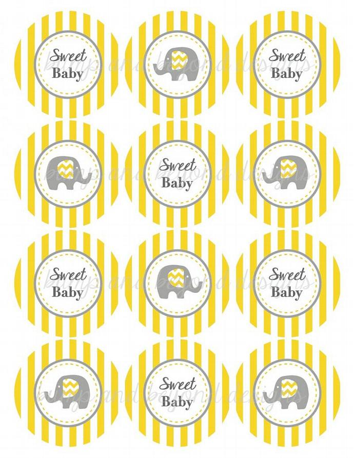 Elephant Printable Cupcake Toppers Baby Shower Favor Bag Stickers Labels Tags