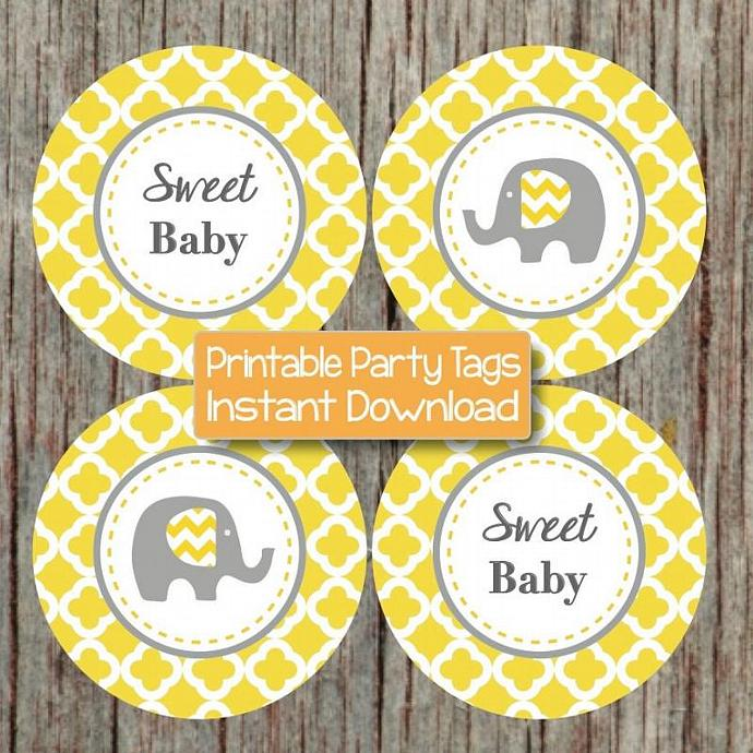 Elephant Yellow Grey Baby Shower Cupcake Toppers diy Printable Quatrefoil Party