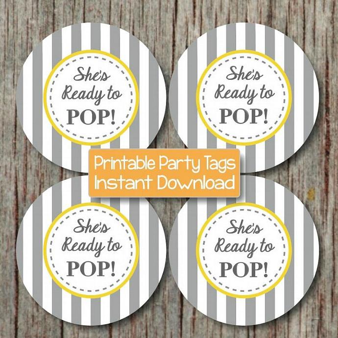 Ready to Pop Baby Shower Party Decorations Yellow Grey Favor Labels Cupcake