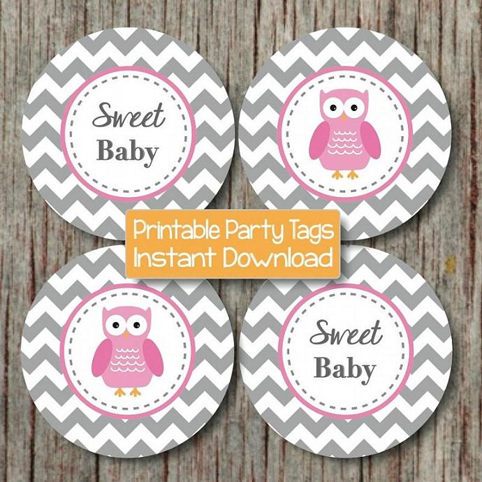 Owl Cupcake Toppers Digital Gum Pink Grey Chevron Baby Shower Printable diy Baby
