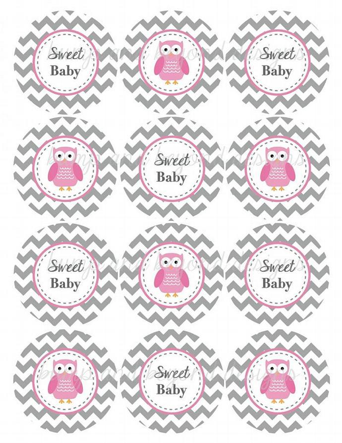 Owl Cupcake Toppers Digital Gum Pink Grey Chevron Baby Shower Printable diy Baby