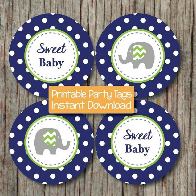 Baby Shower Favor Tags Printable Cupcake Toppers diy Party Supplies Navy Blue