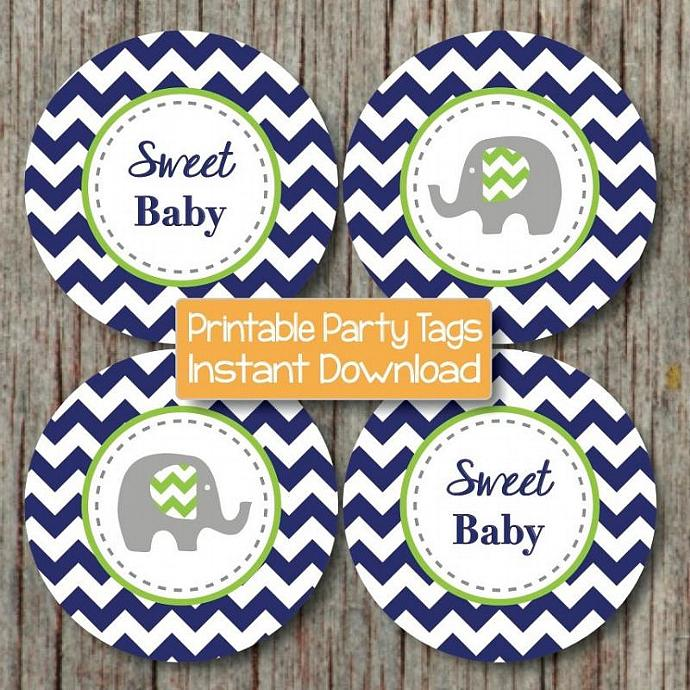 Baby Shower Cupcake Topper Favors Navy Blue Lime Green Elephant Printable Party