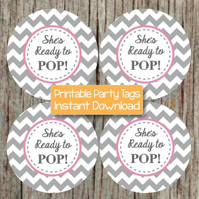 Printable She's Ready to Pop Gum Pink Grey Chevron Girl Baby Shower Cupcake