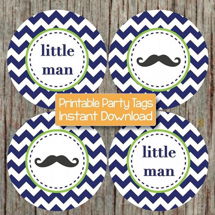 Little Man Cupcake Toppers Baby Shower Mustache Party Favor Stickers Labels
