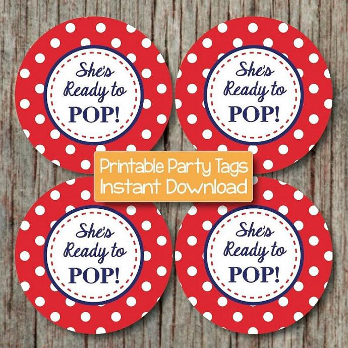 She's Ready to Pop Baby Shower Decorations Favor Tags Labels diy Cupcake Toppers