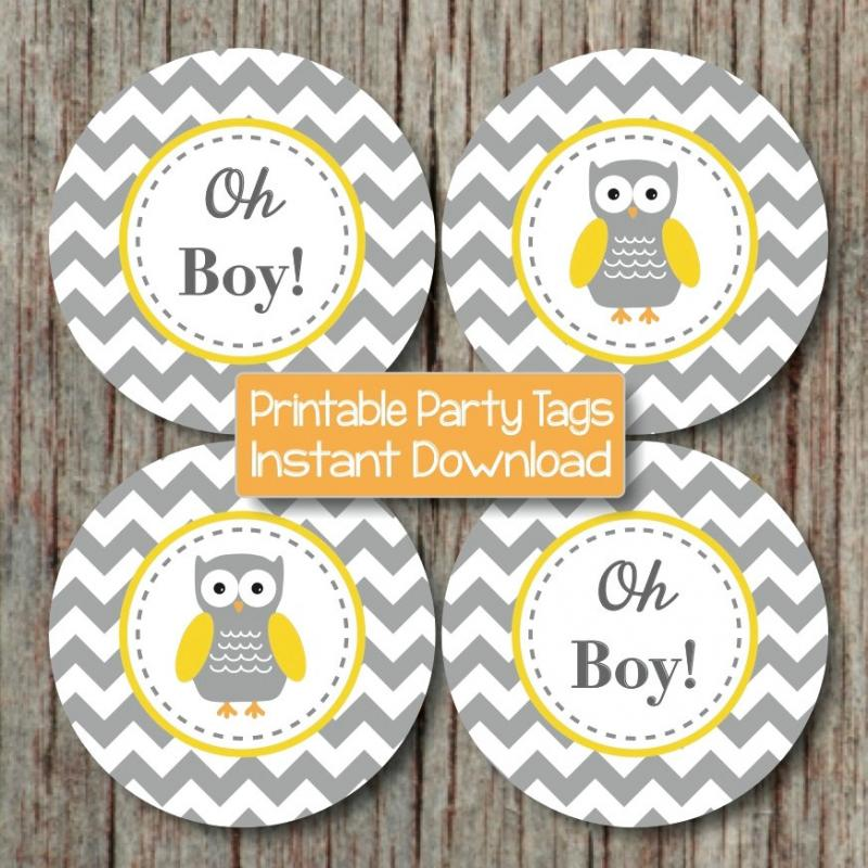 Yellow Grey Chevron Owl Baby Shower By Bumpandbeyonddesigns On Zibbet