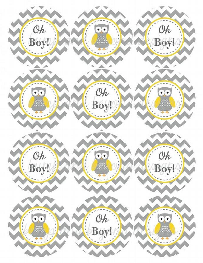 Yellow Grey Chevron Owl Baby Shower Decorations Cupcake Toppers Oh Boy!
