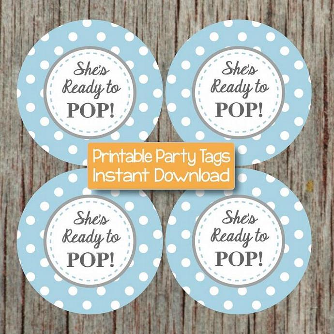 Ready to Pop Baby Shower Cupcake Toppers Party Supplies Decorations Powder Blue
