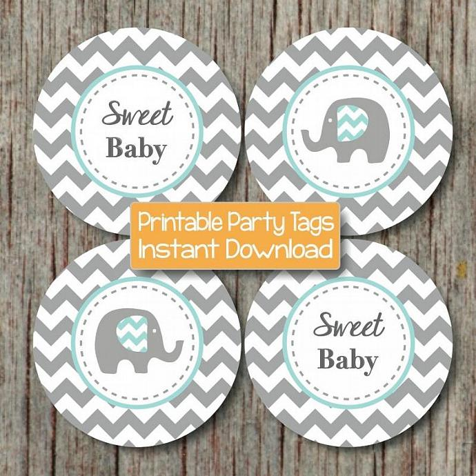 Baby Shower Elephant Printable Cupcake Toppers Party Favor Tags Stickers Light