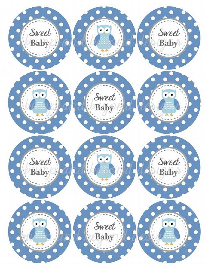 Owl Ocean Blue Grey Baby Shower Decorations Cupcake Toppers Favor Tags Stickers