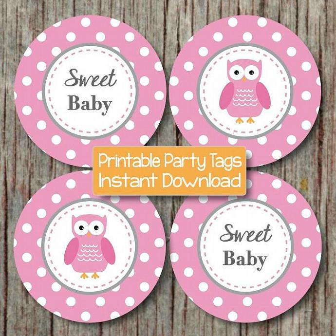 Baby Shower Decorations Owl Cupcake Toppers Digital Gum Pink Grey Printable