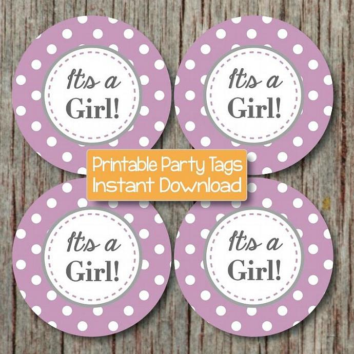 Digital Printable Baby Shower Stickers Cupcake Toppers Favor Tags It's a Girl