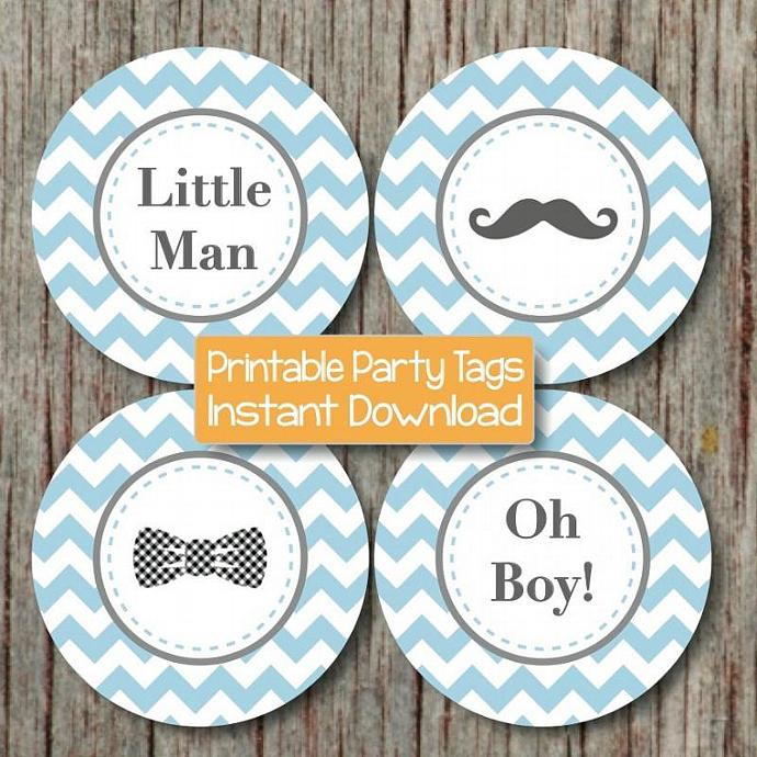 Little Man Baby Shower Mustache Bash Cupcake Toppers Printable Mustache Bow Tie