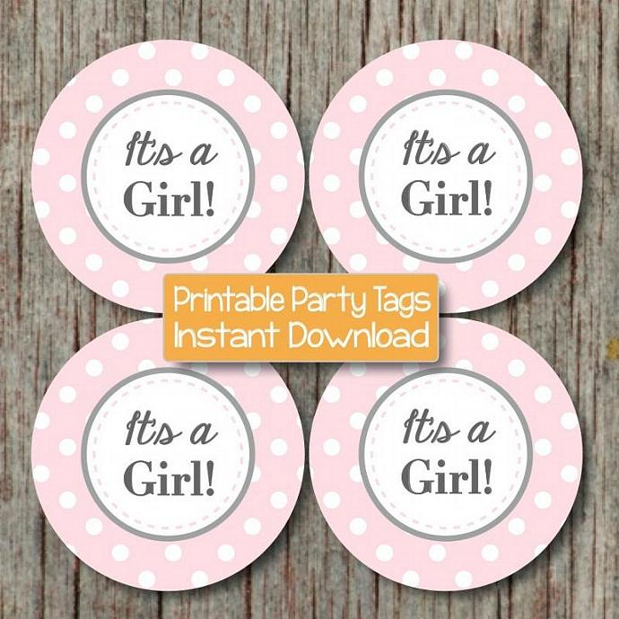 It's a Girl! Printable Baby Shower Cupcake Toppers Favor Tags Baby Shower Party