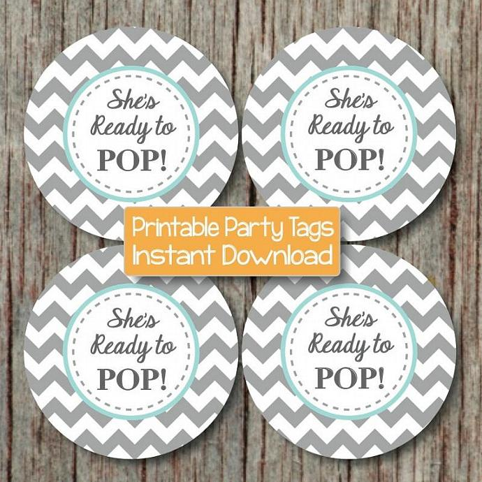 She's Ready to Pop Digital Boy Baby Shower Favor Tags Printable Party Light Teal