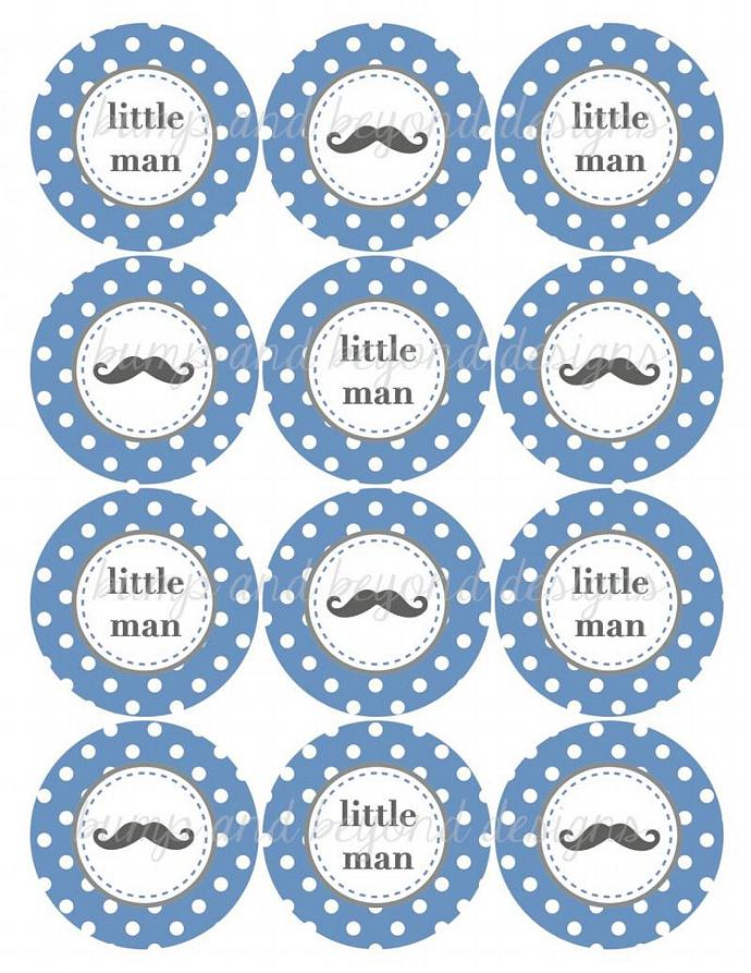Baby Shower Little Man Mustache Printable Cupcake Toppers diy Little Man Party