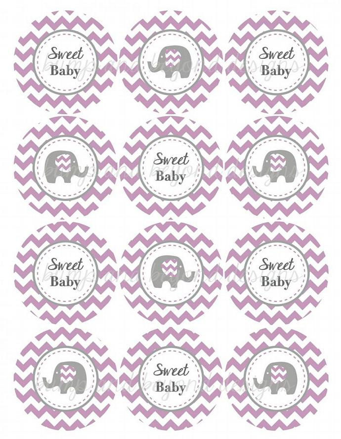 Printable Baby Shower Supplies Cupcake Toppers Favors Stickers Purple Grey