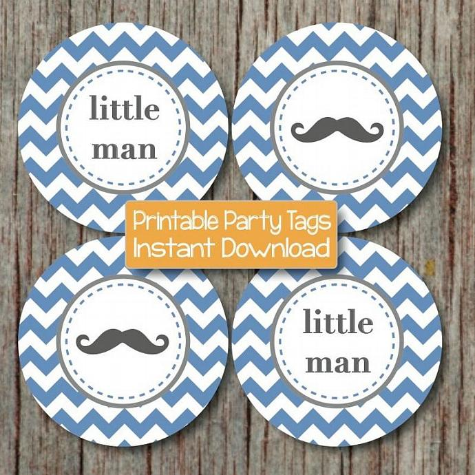 Little Man Baby Shower Mustache Cupcake Toppers Printable Little Man diy Party