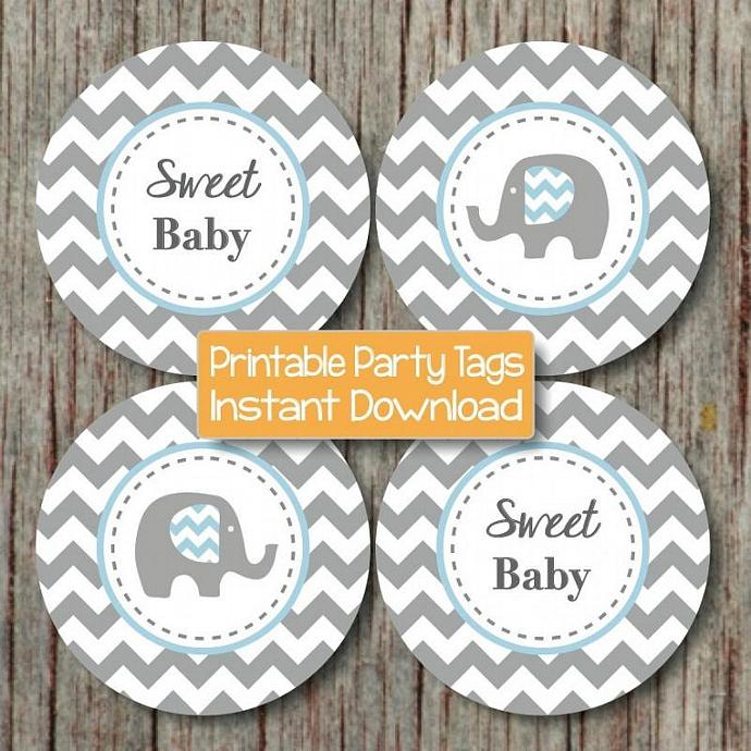 Baby Shower Cupcake Toppers Printable Party Elephant Powder Blue Grey Chevron