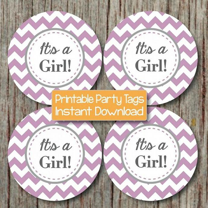 Baby Shower Cupcake Toppers Stickers It's a Girl Printable Baby Shower