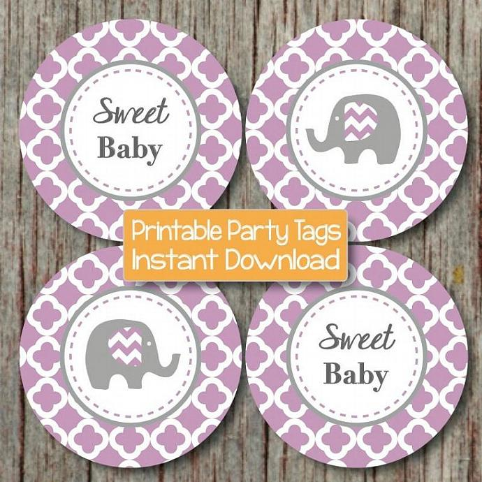 Digital Printable Purple Grey Quatrefoil Elephnt Baby Shower Decorations Cupcake