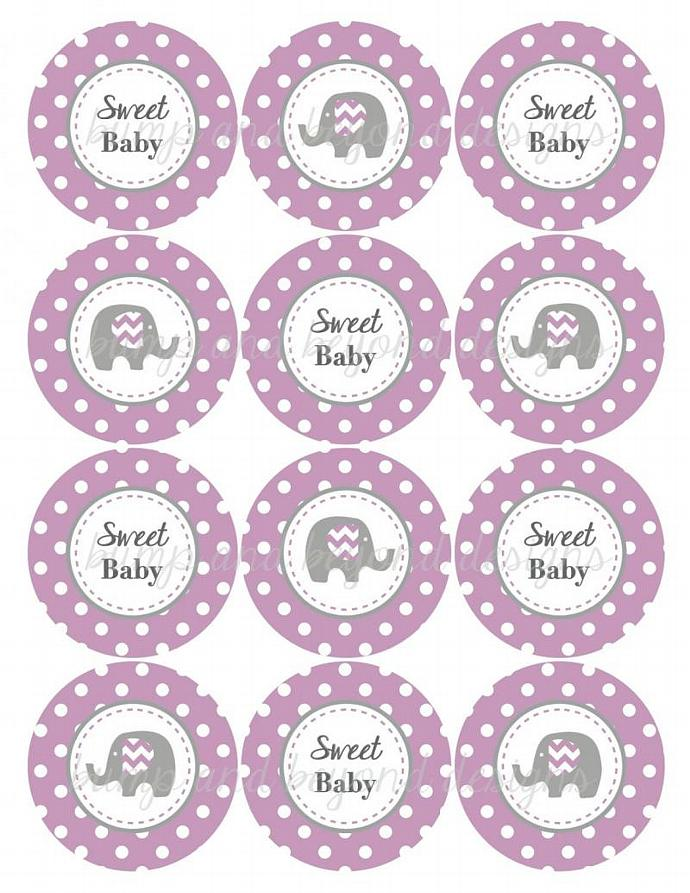 Purple Grey Chevron Elephant Printable Baby Shower Cupcake Toppers Favors