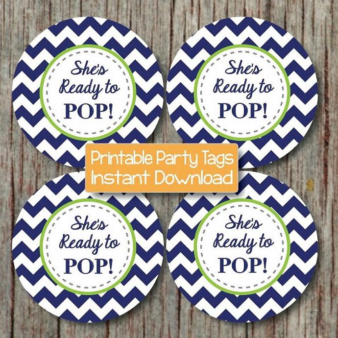 Baby Shower Cupcake Toppers Navy Blue Lime Green Printable Party She's Ready to