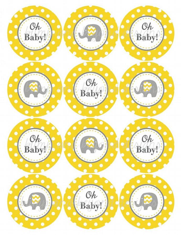 Yellow Grey Baby Shower Decorations Elephant Cupcake Toppers Favor Tags