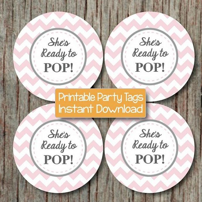 Ready to Pop Baby Shower Printable Favor Tags Cupcake Toppers She's Ready to Pop