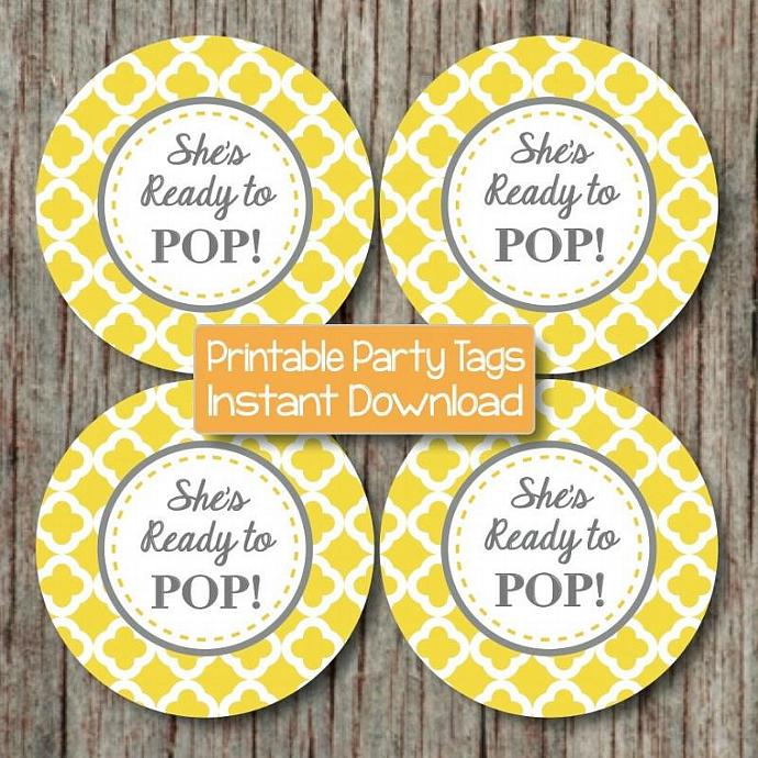 She's Ready to Pop Digital Printable Baby Shower Cupcake Toppers Yellow Grey