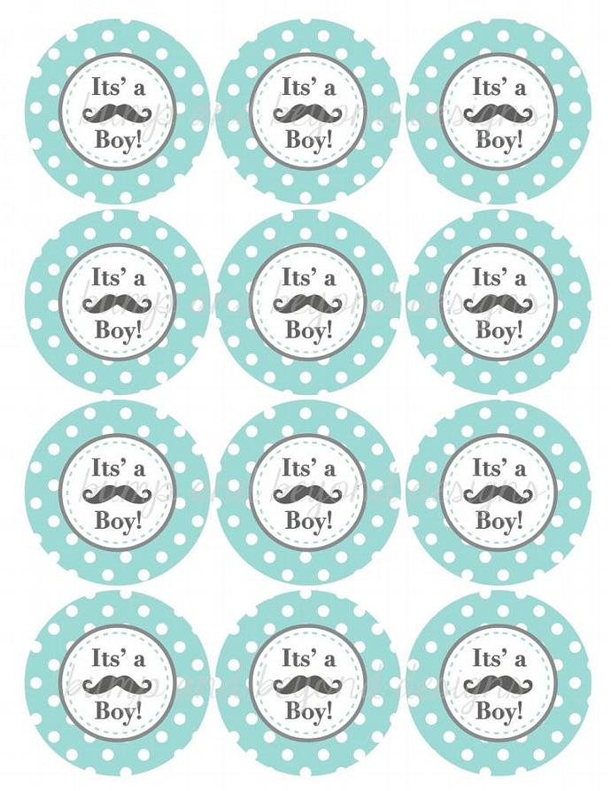 Mustache Little Man Party Printable Its a Boy! Baby Shower Cupcake Toppers Light