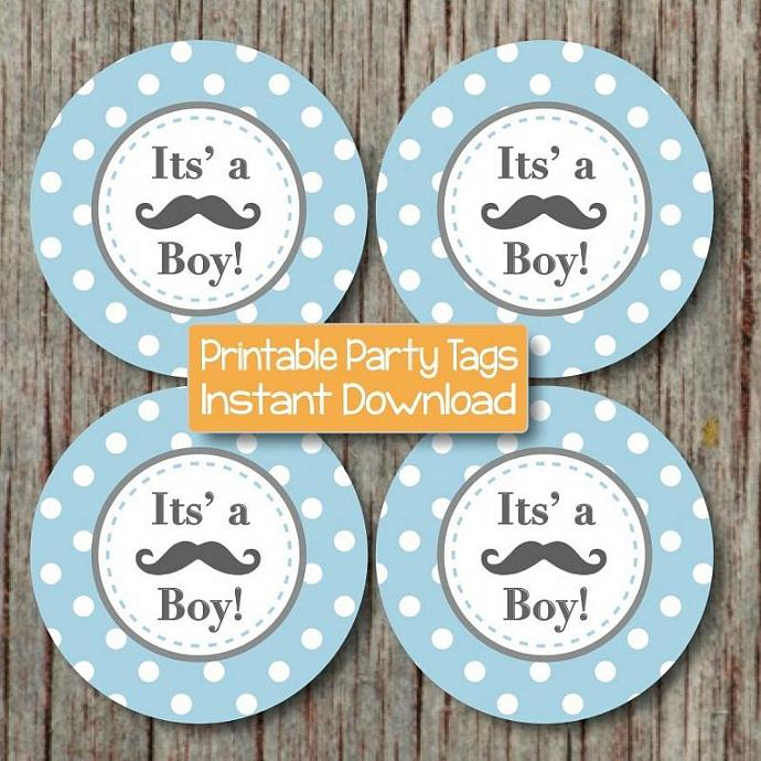 Little Man Baby Shower Printable Party Mustache Its a Boy! Cupcake Toppers