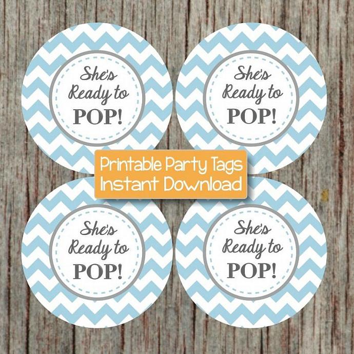 Digital She's Ready to Pop Favor Tags Cupcake Toppers Powder Blue Grey Chevron