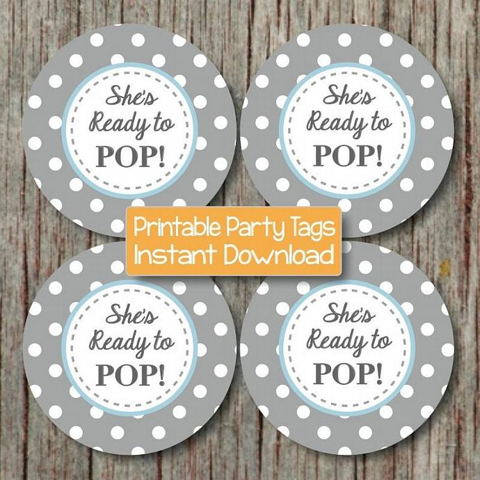Baby Shower Cupcake Toppers Shes Ready to Pop Printable Party Powder Blue Grey