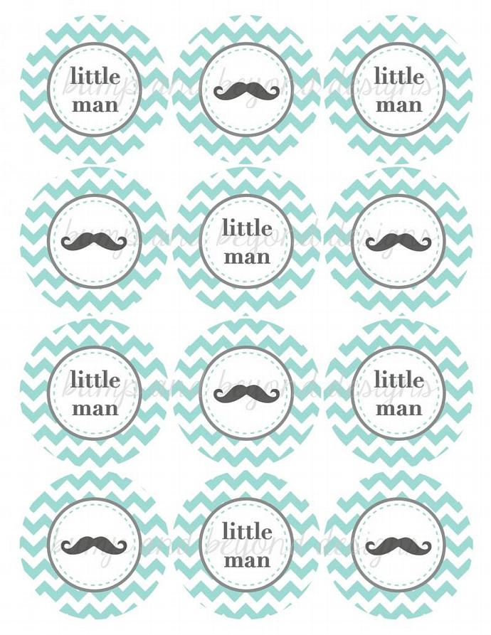 Little Man Mustache Cupcake Toppers Digital Light Teal Grey Baby Shower