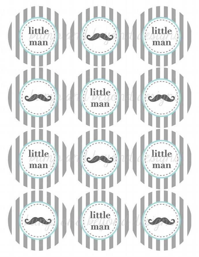 Mustache Little Man Baby Shower Printable Party Cupcake Toppers Tags Digital pdf