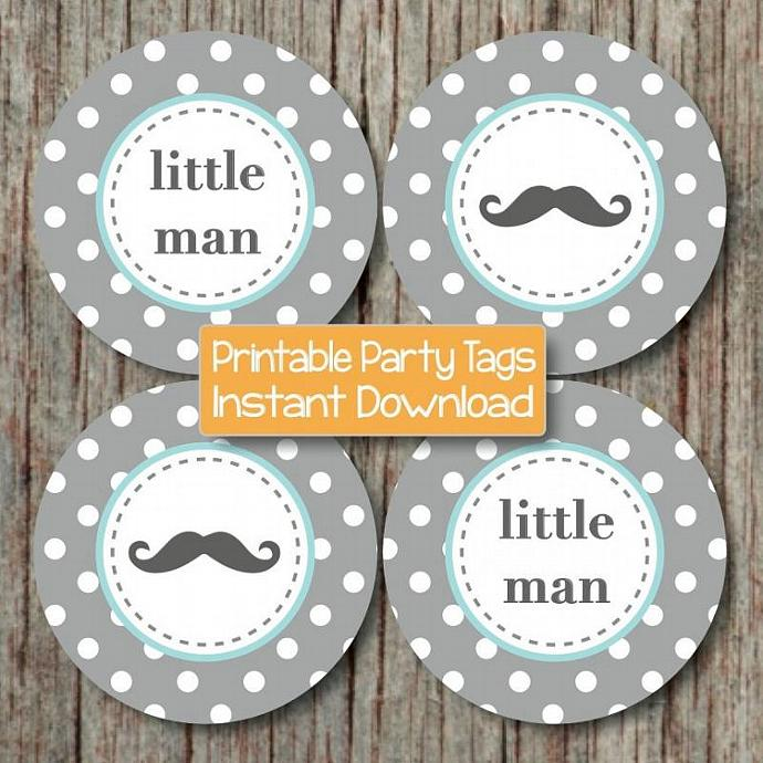 DIY Little Man Party Mustache Printable Baby Shower Cupcake Toppers Light Teal