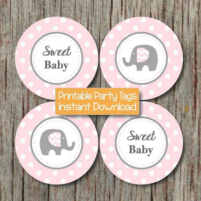 Printable Cupcake Toppers Powder Pink Grey Baby Shower Favor Tags Cupcake