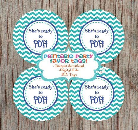 Baby Shower Party Printable Favor Tags Supplies Sheu0027s Ready To Pop Cupcake