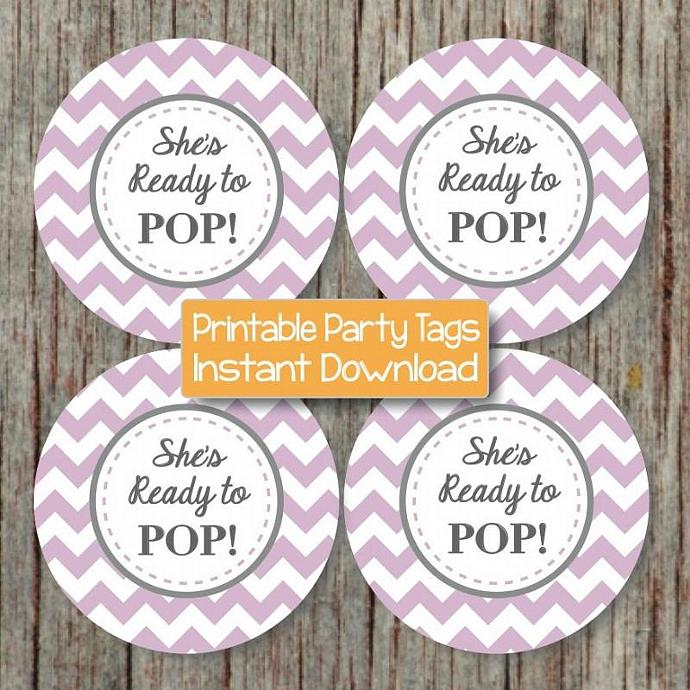 She's Ready to Pop Printable Cupcake Toppers DIY Baby Shower Lavender Purple