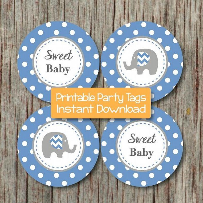 Baby Shower Printable Ocean Blue Grey Elephant Cupcake Toppers Party Favor