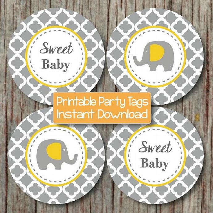 Yellow Grey Quatrefoil Baby Shower Cupcake Toppers Elephant Baby Shower Favor