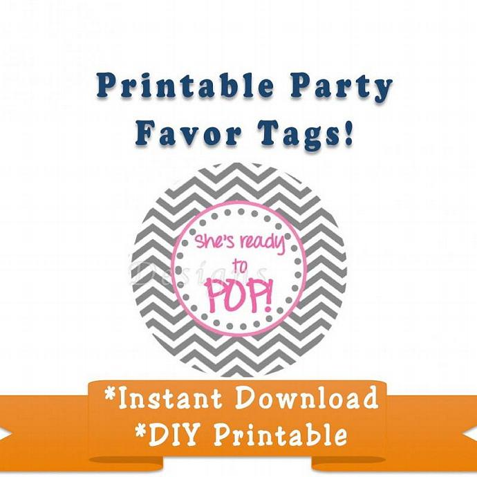 Baby Shower Favor Tags Printable Party Digital She's Ready to Pop Party Supplies